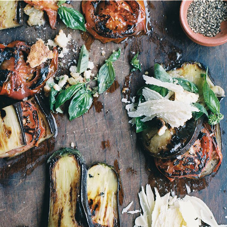 Grilled Eggplant and Tomatoes with Parmesan-Basil Crumbs | Food & Wine