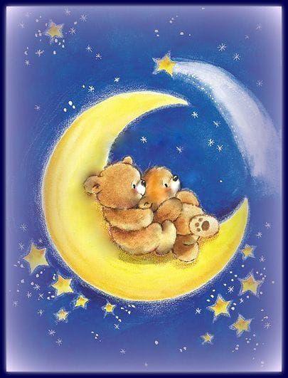 Картинки, картинка с мишкой и цветами доброй ночи