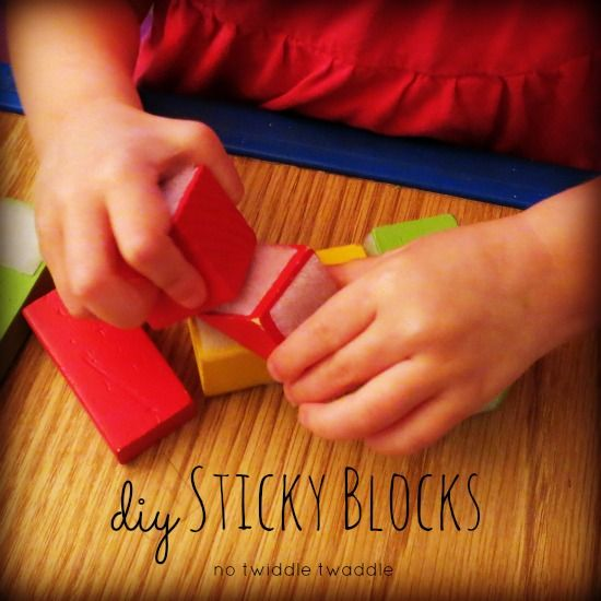 Sticky Blocks: Velcro on wooden blocks makes playing with blocks a new, fun experience, plus great for fine motor strengthening (No Twiddle Twaddle)