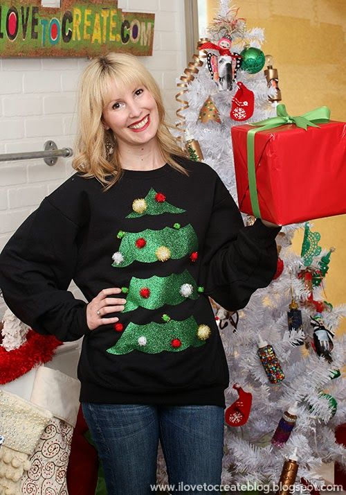 Ugly Christmas Tree w/ Pom Poms Sweater by Erika Lindquist {Sew Doggy Style}