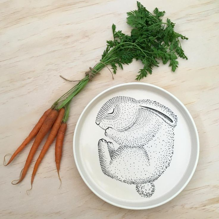 Bloomingville Mini Sleeping Bunny Plate from nellieandthecat.com