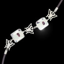 """""""Frivolous Fancy""""  $24.99 CAD - This adorable bracelet features squares of murano glass alternating between rhodium finished butterflies all on a black cord. 7.5"""" bracelet with 2"""" extension. Nickel and lead free."""