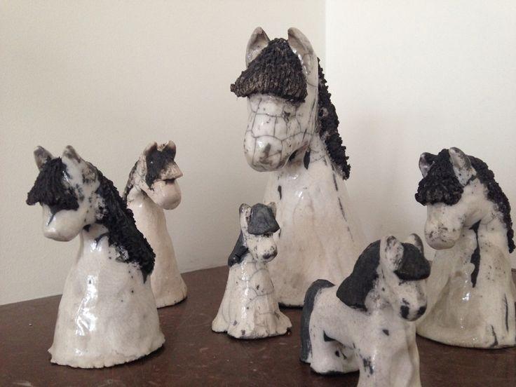 Pottery raku horses