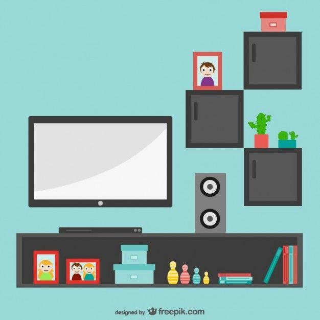 Minimalist Living Room with Tv Free Vector