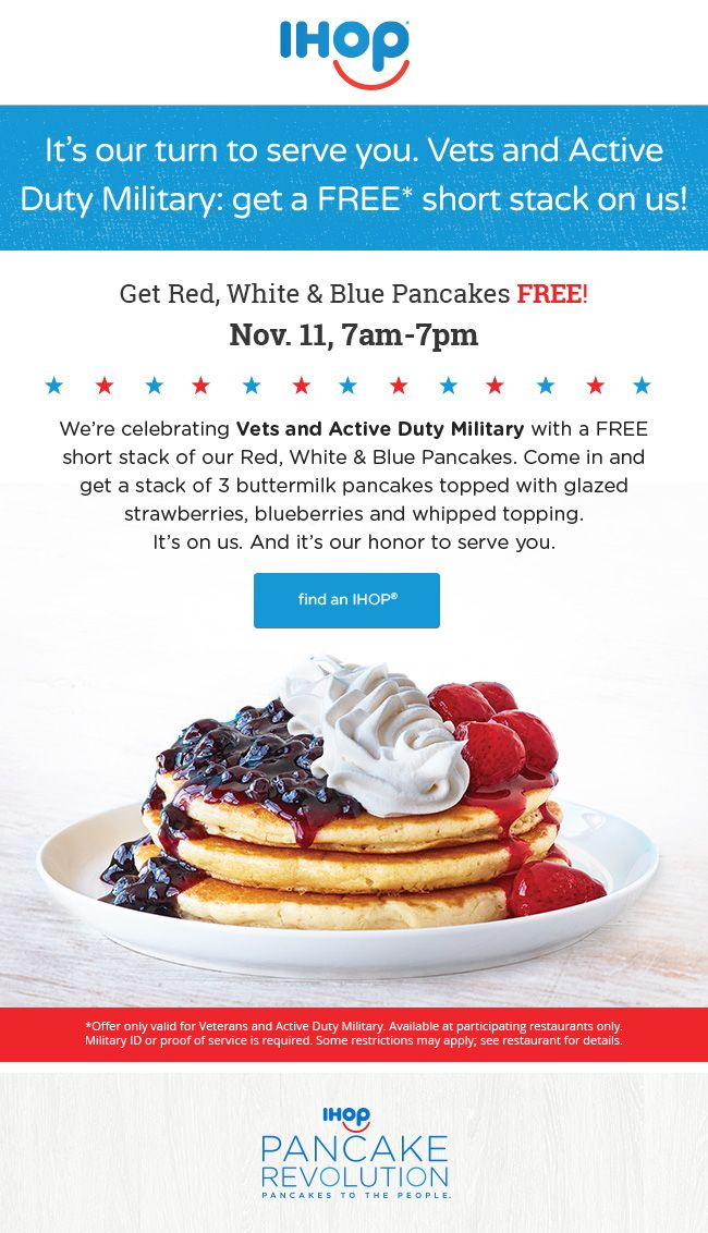 Naddez's Tidbyts : FREE Red, White & Blue Short Stack at IHOP - Friday, 11/11 From 7am - 7pm
