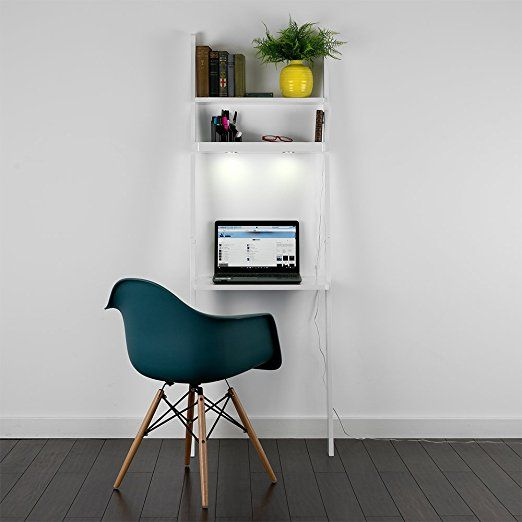 Modern White 3 Tier Wood Space Saver Wall Ladder Shelf Desk / Workstation with LED Lights [6500K Cool White]