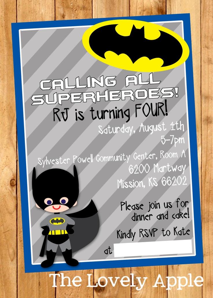 Batman Birthday Invitation by thelovelyapple on Etsy