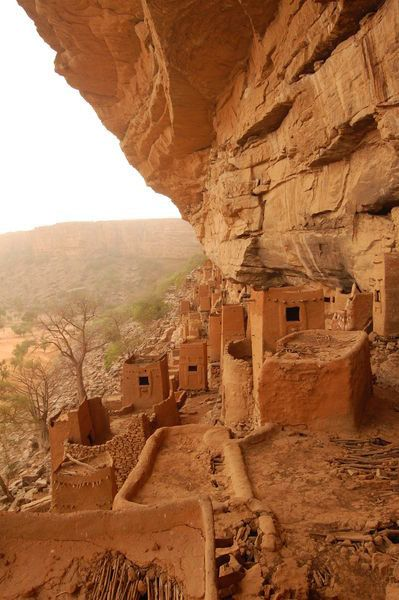 Dogon Homes on the side of rocky mountains - Ancient Tellem Village - Dogon Country, Mali - West Africa