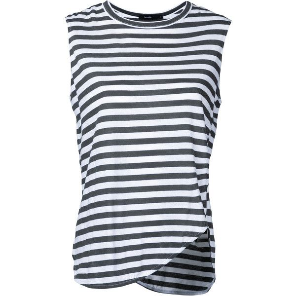 Bassike stripe heritage tank (325 BRL) ❤ liked on Polyvore featuring tops, grey, stripe tank top, gray top, gray tank, cotton tank and striped tank top