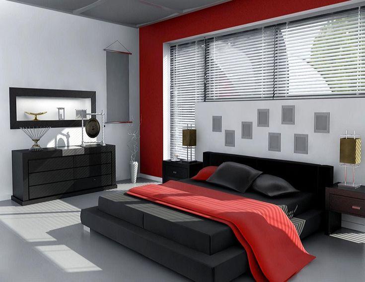 Camera da letto nelle tonalità rosso e grigio n.01