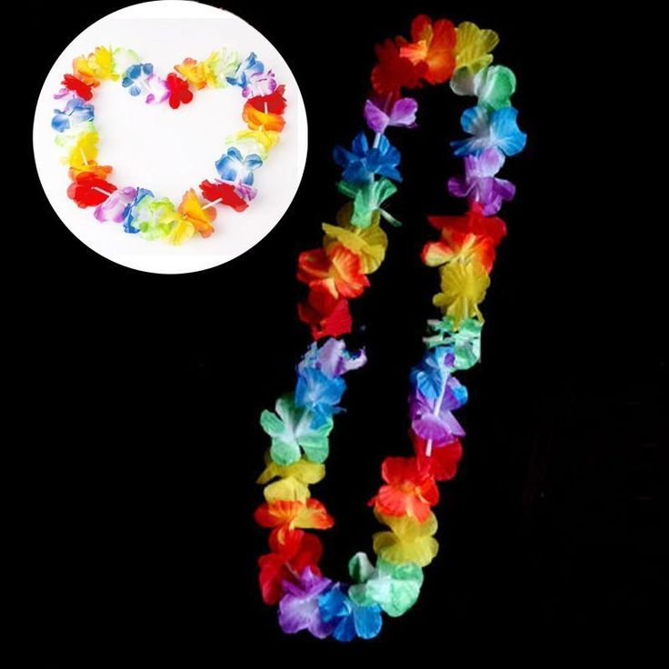 Bulk Lots 10x Hawaiian Flower Rainbow Leis Luau Beach Lei Tropical Party Favors