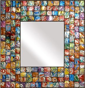 Pop Art Mirror Recycled soda cans, hand-cut and nailed to a wooden frame, get a new start in this sparkling mirror.