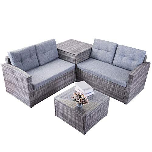 Excellent Leisure Zone Patio Furniture Set 4 Piece Pe Rattan Wicker Home Interior And Landscaping Ologienasavecom