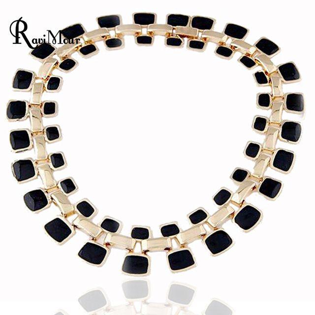 Emaille volledige vierkante collier femme nieuwe goud kleur maxi ketting voor vrouwen sieraden bib choker verklaring collares steampunk sieraden