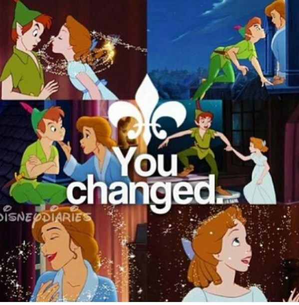 """""""Wendy?"""" """"Hello Peter."""" """"You Changed"""" """"Not really, Not ever."""" Peter - Wendy"""