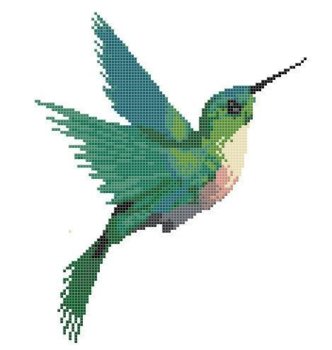 Colourful Hummingbird Animal Counted Cross Stitch Pattern | Instant Download PDF