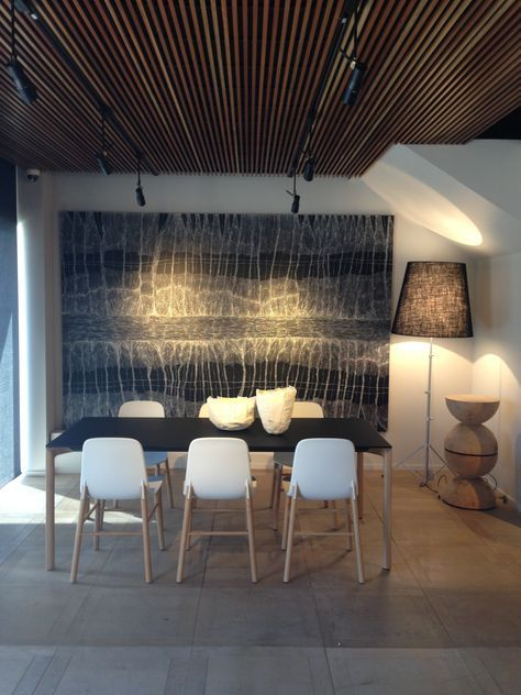 Linda Gregoriou's - Google Search | contemporary dining room with large oversized black and white painting artwork |  modern residential interior design