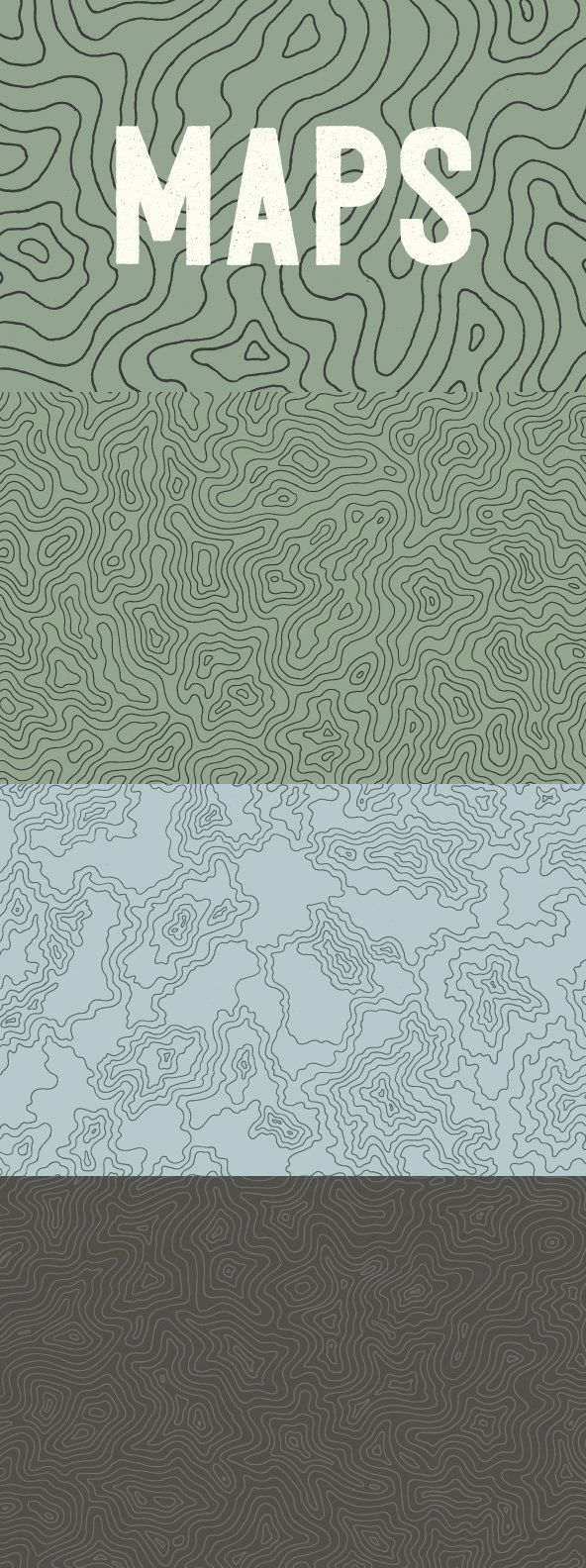 Topographic Elevation Maps - This hand-illustrated set of three topographic maps draws inspiration from the...