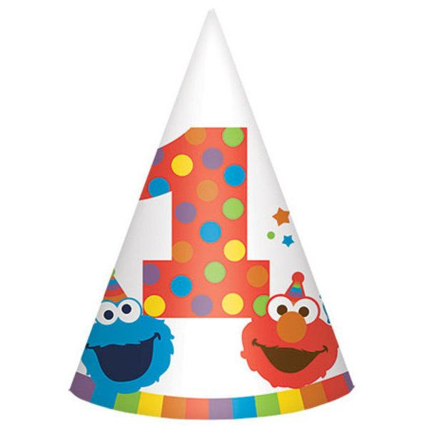 Check out Elmo Turns One Paper Cone Hats | Elmo's 1st Birthday party supplies from Birthday in a Box from Birthday In A Box