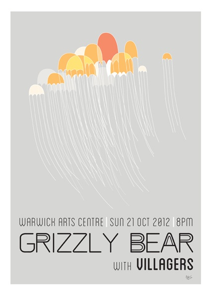 Grizzly Bear w/ Villagers - gig poster - Mel Skellon