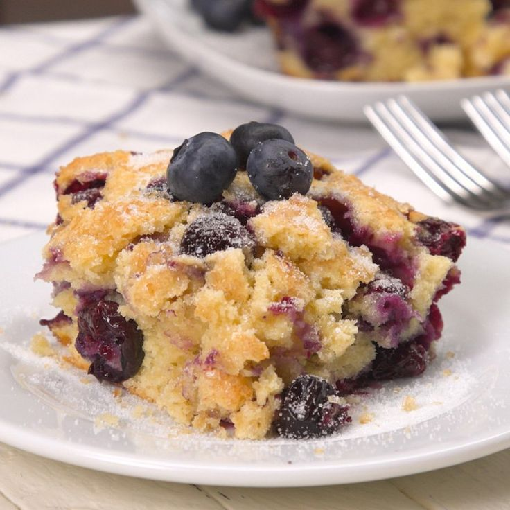 This weekend, bake a buttermilk blueberry breakfast cake: moist crumbs bursting with (fresh or frozen) blueberries and buttermilk for extra richness.
