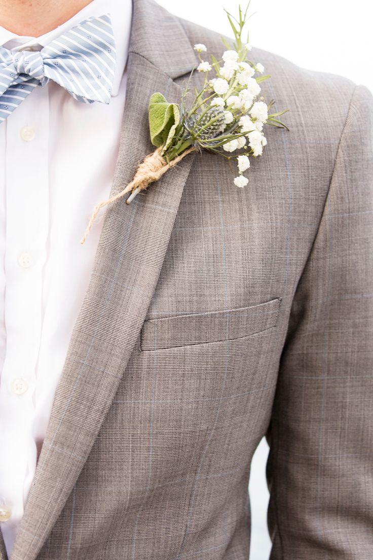 Grey pinstripe wedding