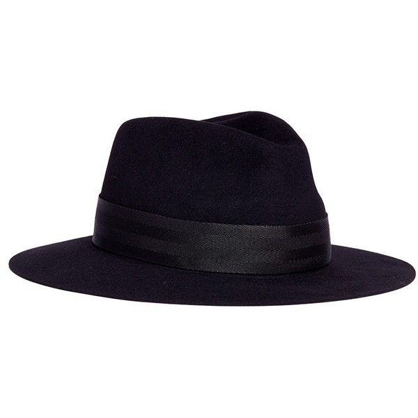 Maison Michel 'Rico' webbing strap rabbit furfelt fedora hat ($665) ❤ liked on Polyvore featuring men's fashion, men's accessories, men's hats, black and mens fedora hats