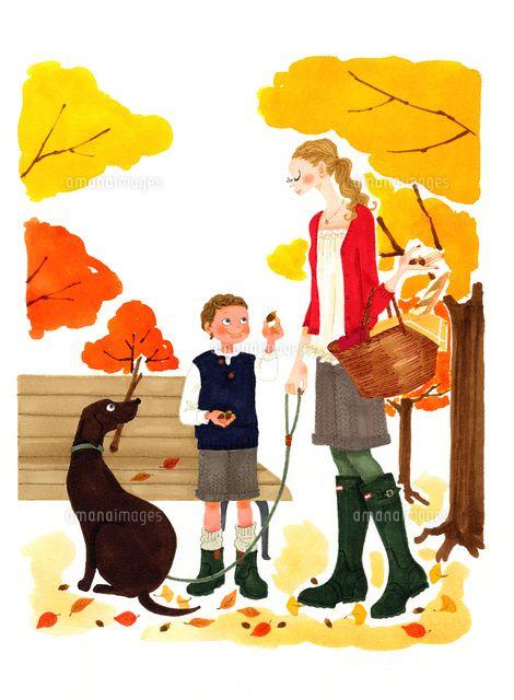 秋の公園で犬の散歩をする女性と犬 C Asterisk 犬 散歩 犬 譚