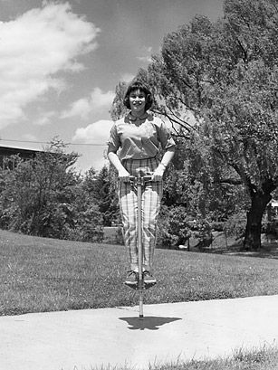 The pogo stick itself was created in the late 1800s, but it wasn't until 1957 that the two-handle version — its modern iteration — was invented by George Hansburg.