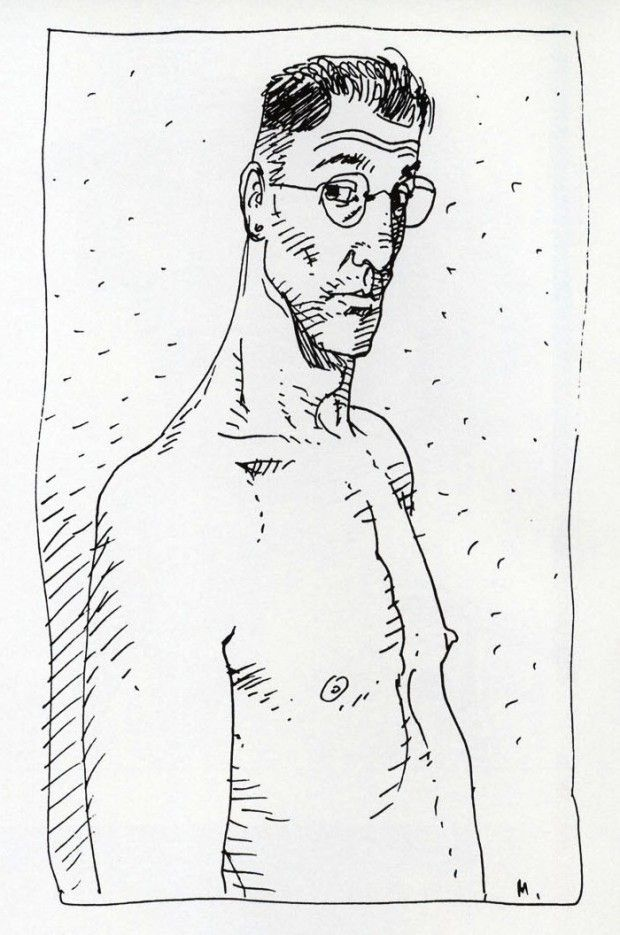"Self-portrait by Moebius (Jean Giraud - 1938-2012) published in  ""Starwatcher"", Paris: Aedena, 1986, p.3"