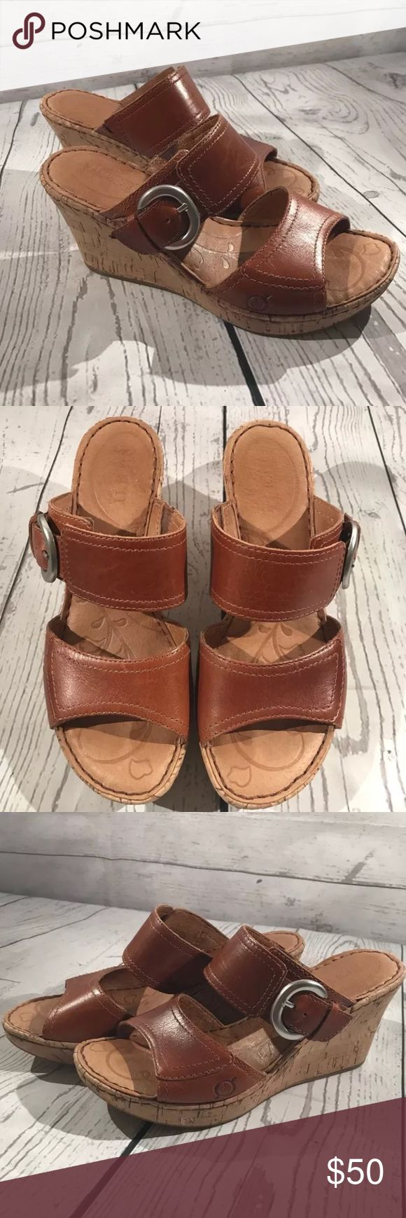 Born Light Brown Leather Wedge sandals Born Light Brown Leather Wedge sandals Women's size 6  In great Condition Born Shoes Wedges