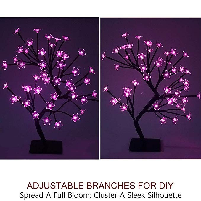 Amazon Com Bright Zeal 18 Led Cherry Blossom Tree Light With Timer Battery Operated Led Lighted Flower Modern Table Lamp Table Flowers Cherry Blossom Tree