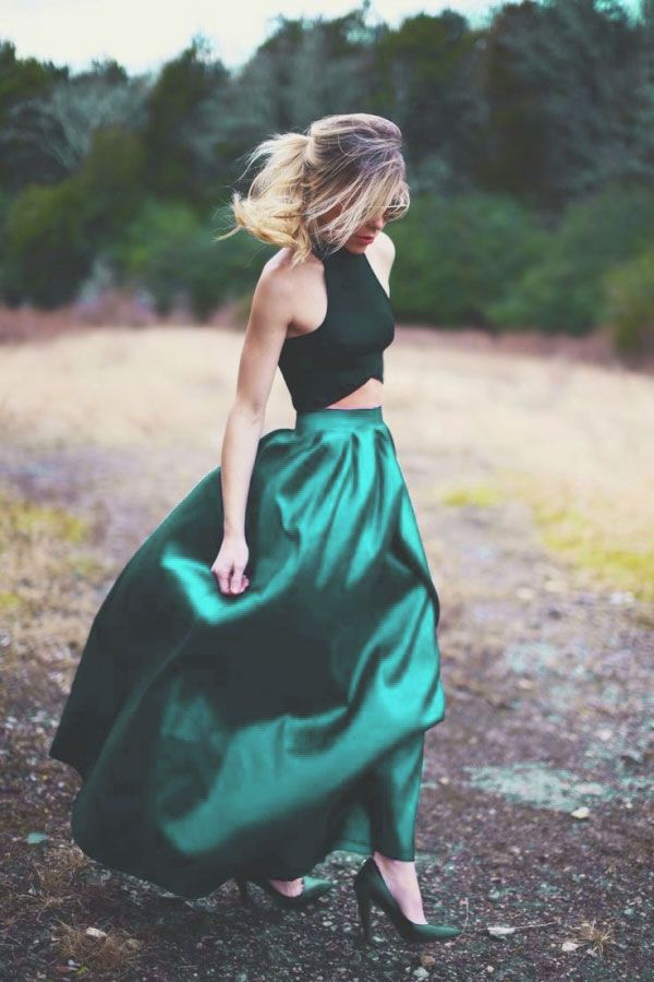 Simple two pieces green long prom dress, green evening dress
