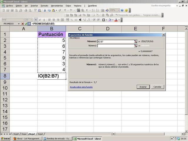 Conoce y usa eficazmente la función Promedio en la hoja de cálculo Excel: Elige la función PROMEDIO y selecciona datos