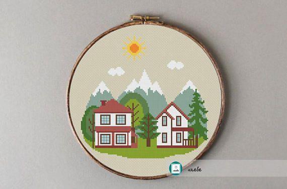 Mountain cottage cross stitch pattern modern cross stitch