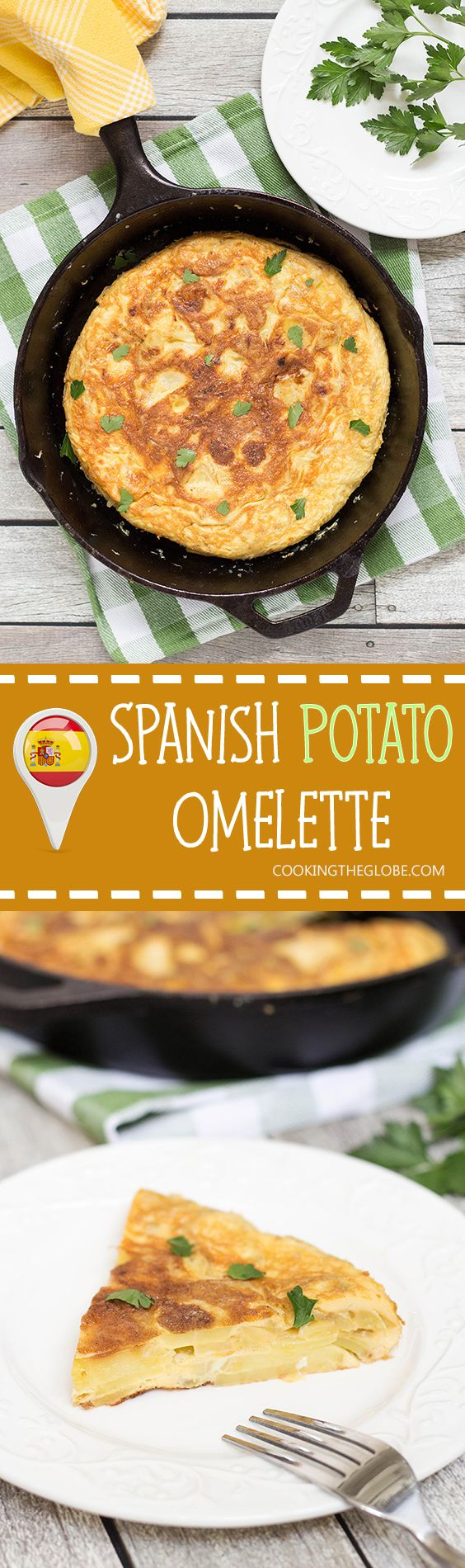 The famous Spanish Omelette (Tortilla) requires only few simple ingredients (eggs, potatoes, onion) and is so delicious!