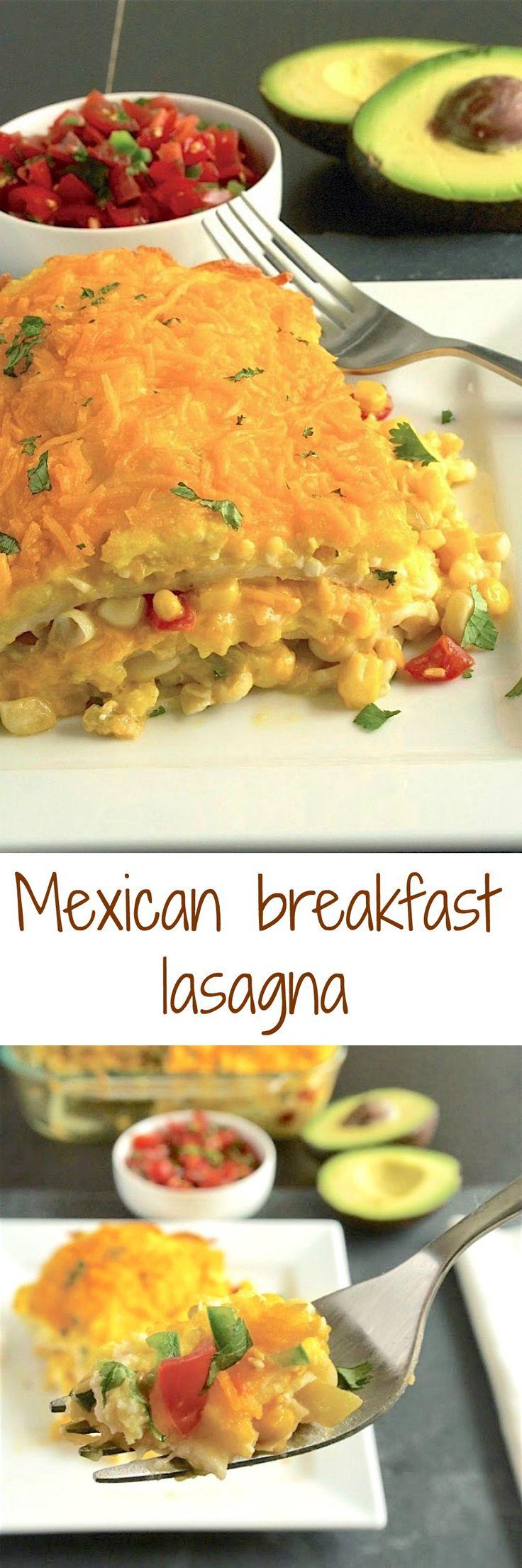 Mexican breakfast lasagna. Layers of scrambled egg, corn salsa, tortillas and cheese.