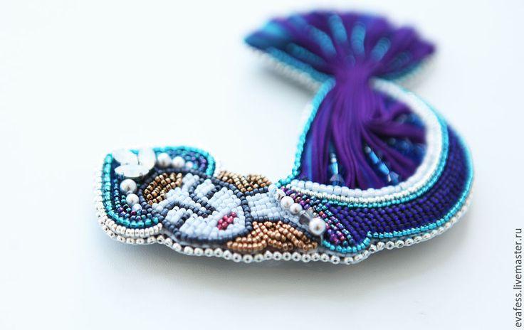 """Купить Брошь """"Птица Сирин"""" - темно-синий, синий, фиолетовый, русский стиль, русская традиция"""