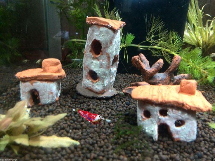 Miniatur Stadt - Turm + Haus + Mini Baum - Garnelen Aquarium Deko Fische | eBay