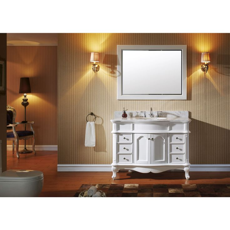 Images On Virtu USA Norhaven Single Round Sink Bathroom Vanity In Antique White With Italian Carrara