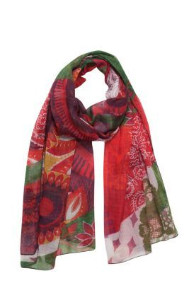Desigual women's Floreada scarf. Our maxi-scarves are the best: you can wear them as a sarong, a pashmina, a beach dress, etc. It measures 190x107 cm / 74.8