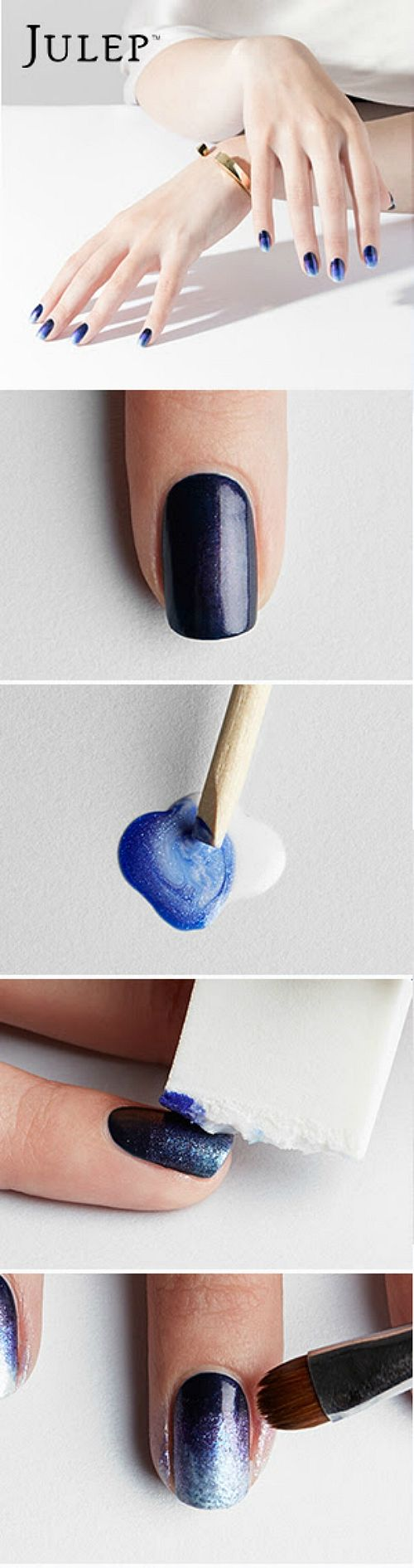 DIY ombre nail art in blue :)