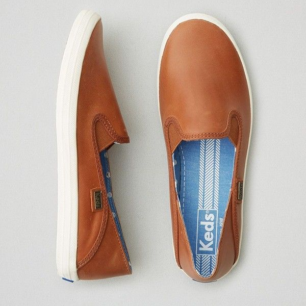 AEO Keds Crashback Leather Sneakers ($65) ❤ liked on Polyvore featuring shoes, sneakers, tan, tan slip on sneakers, slip on shoes, american eagle outfitters shoes, tan shoes and american eagle outfitters