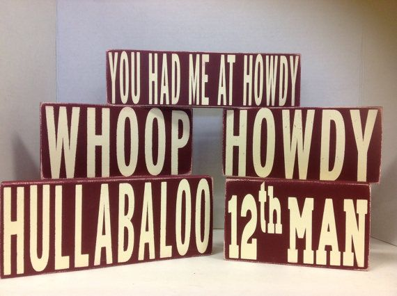 Texas Aggies Gig Em Whoop 12th Man Howdy primitive by TWOPINKDOTS