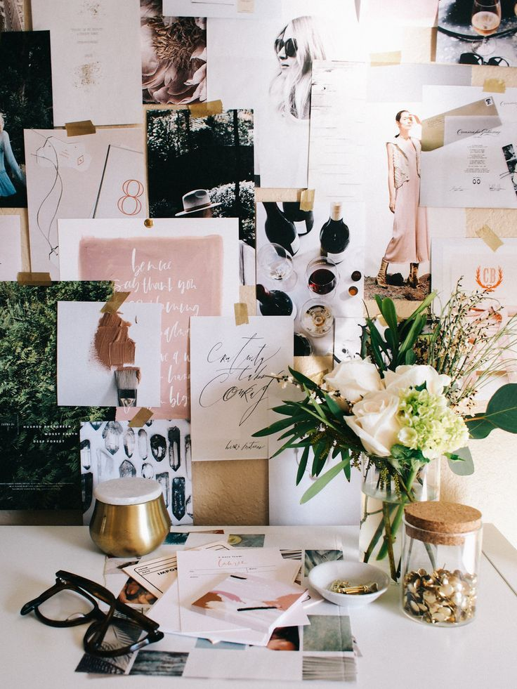 Home office vignette. mood board