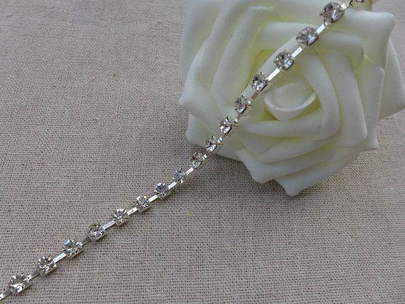 3 mm Crystal Strass ketting bruiloft Rhinestone Trim voor deurkozijnen, hoofdbanden, bruids toebehoren