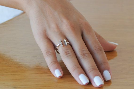 Tiny Parallel Bars Sterling Silver Ring Modern by Wavejewels