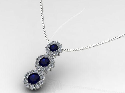 Girocollo Trilogy in oro 18 kt con n.3 zaffiri blu naturali contornati da n.30 diamanti . Un regalo di Natale che Le farà risplendere il volto.