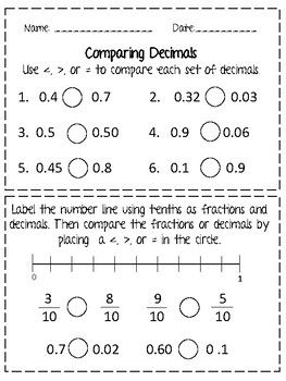 Comparing Decimals Worksheet For Tenths And Hundredths This