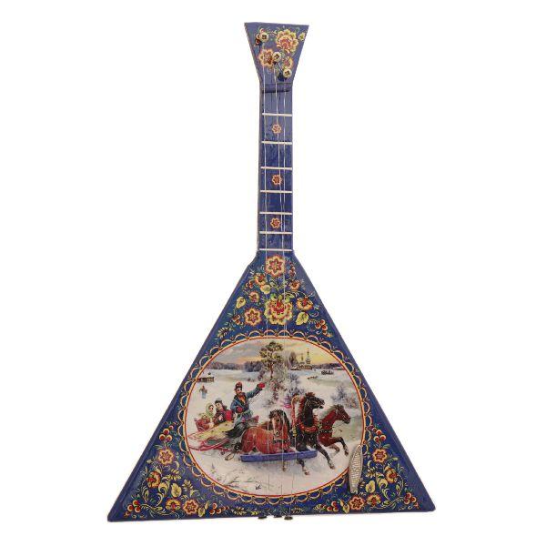 Souvenir musical balalaika with trooika and russian winter hand made